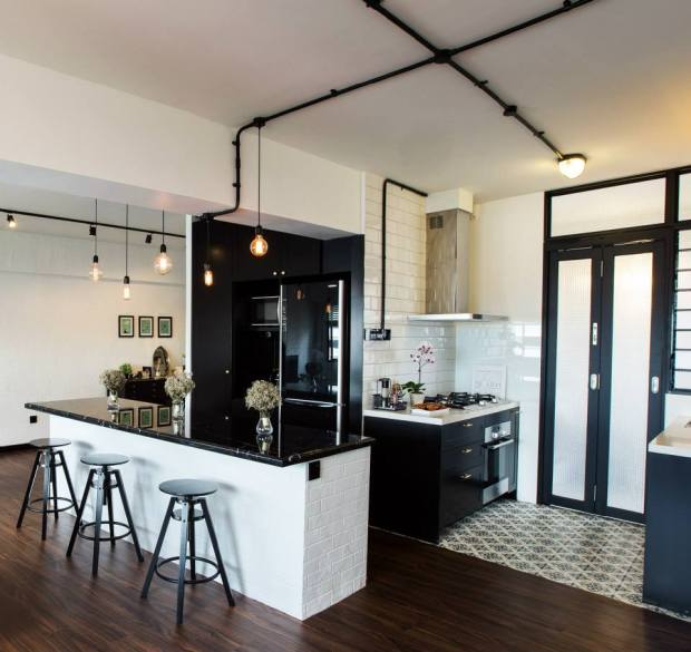 Before And After Of This Beautiful Open Concept Kitchen: A HDB Flat With Black And White