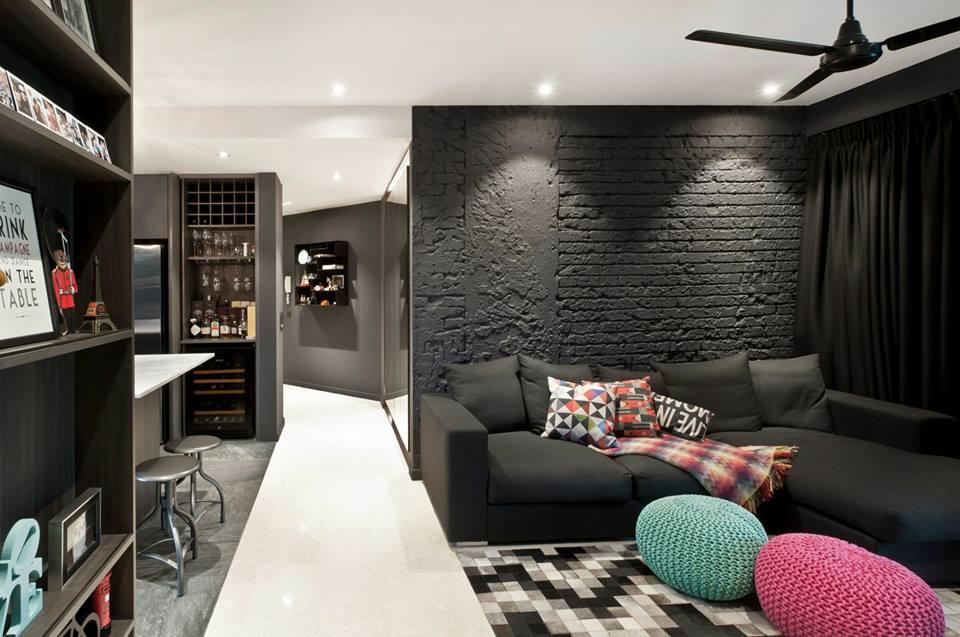 Dark interior waterbank condo at dakota crescent by for Home wallpaper kuching