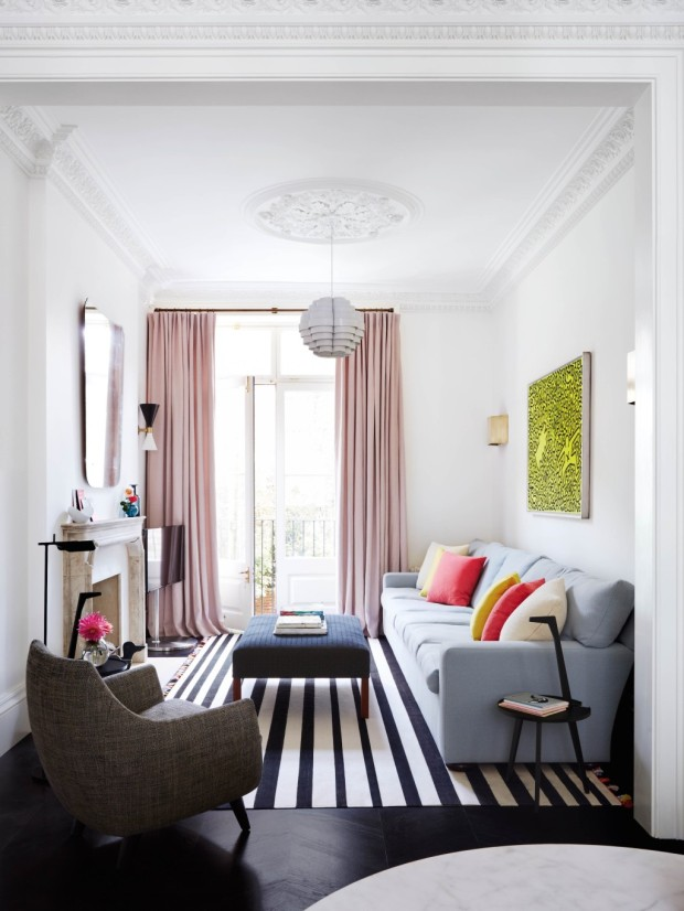 Feature, Notting Hill town house, contemporary, modern, graphic, geometric patterns, family home, bright, interior, sitting area, balcony door, fireplace, monochrome floor, ottoman