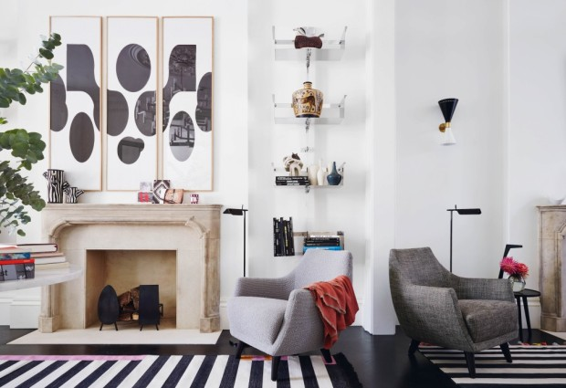 Feature, Notting Hill town house, contemporary, modern, graphic, geometric patterns, family home, bright, interior, sitting area, corner, chairs, stone chimneypiece, monochrome floor, prints