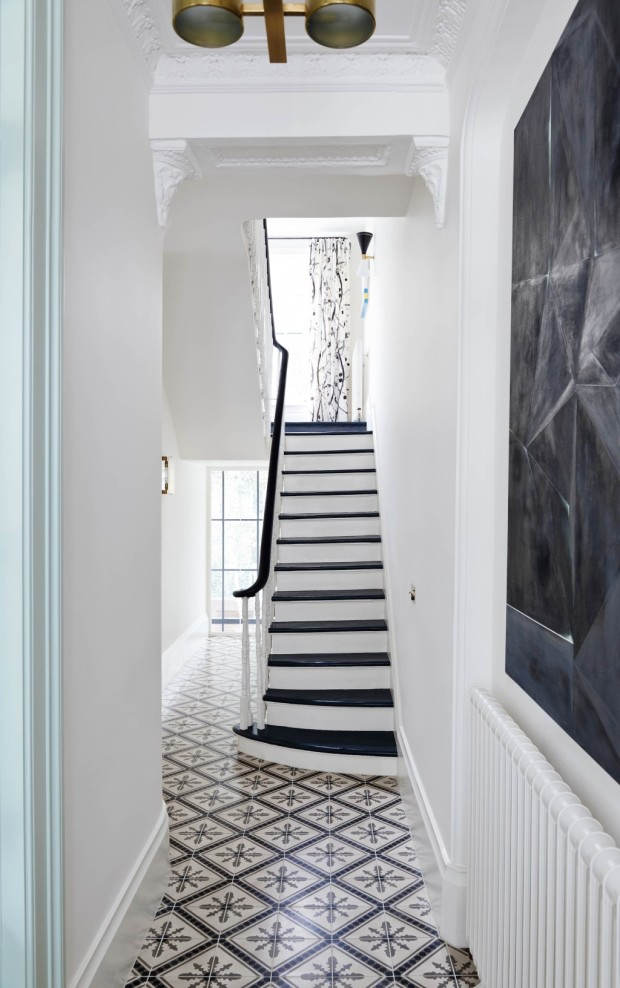 Feature, Notting Hill town house, contemporary, modern, graphic, geometric patterns, family home, bright, interior, staircase, tiles