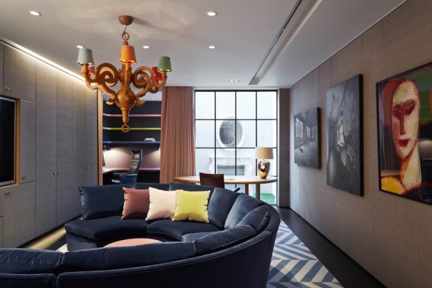 Feature, Notting Hill town house, contemporary, modern, graphic, geometric patterns, family home, bright, interior, work den, cinema, paintings, chandelier