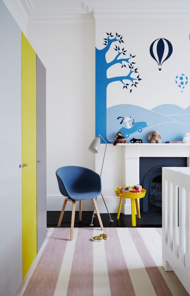 Feature, Notting Hill town house, contemporary, modern, graphic, geometric patterns, family home, bright, interior, nursery, mural, chimneypiece, chair, striped rug