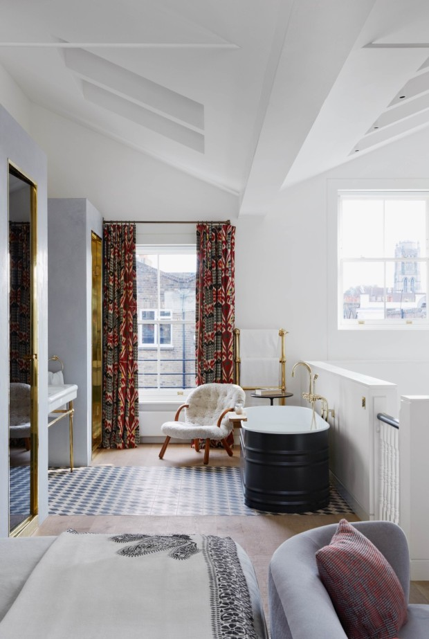 Feature, Notting Hill town house, contemporary, modern, graphic, geometric patterns, family home, bright, interior, open-plan main bedroom, bathroom, free-standing bath, chair, tiles