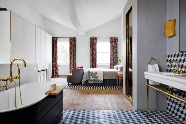 Feature, Notting Hill town house, contemporary, modern, graphic, geometric patterns, family home, bright, interior, open-plan main bedroom, bathroom, brass details, tiles, bath, patterned curtains