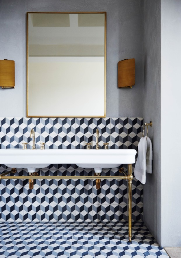 Feature, Notting Hill town house, contemporary, modern, graphic, geometric patterns, family home, bright, interior, bathroom, basins, brass taps, tiles