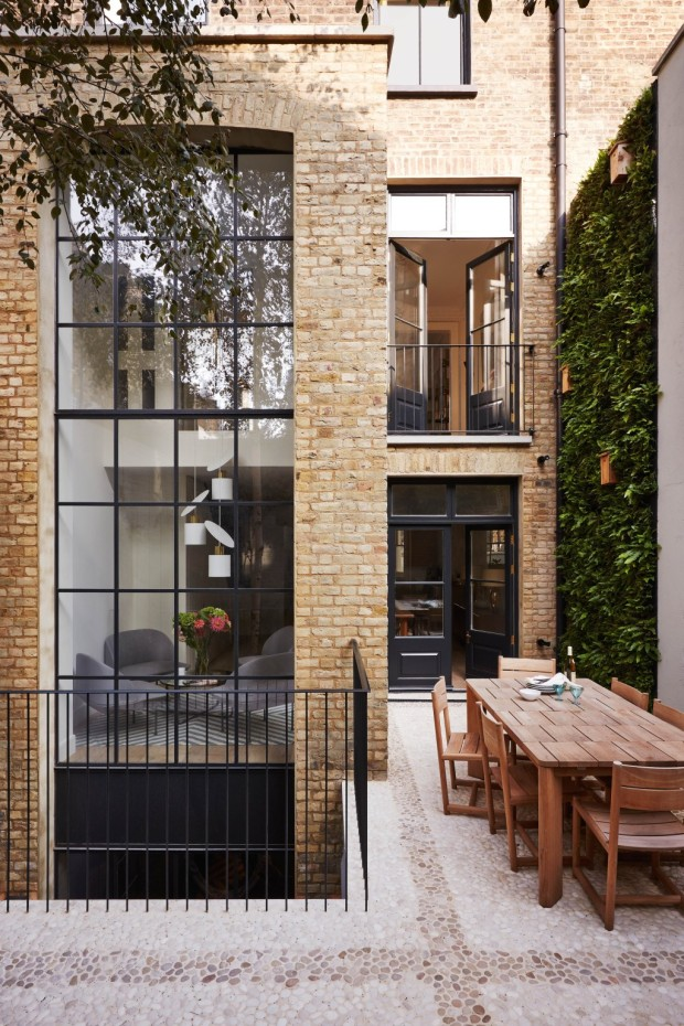 Feature, Notting Hill town house, contemporary, modern, graphic, geometric patterns, family home, bright, exterior, floor-to-ceiling window, garden terrace